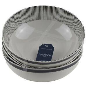 Nautica Soup Cereal Bowls Melamine Set of 4 White Black Pin Stripe