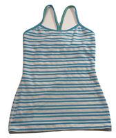 Lululemon Power Y Blue Striped Tank Top Size 6 Small Yoga Athletic Shirt