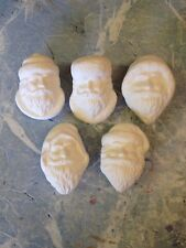 5 Santa Face Ornaments Ceramic Bisque Ready To Paint And Ship