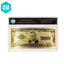 100000 Dollar US 24k Gold Banknote Collectible 999.9 Gold Foil Bill In Sleeve