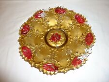 Antique Gold w/ Red Rose Saw Tooth Edge Goofus Glass Bowl - Circa 1900
