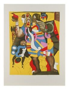 """""""Aztec Figures"""" by Javier Arevalo Lithograph on Paper Lim. Ed. of 170 26"""" x 20"""""""