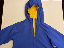 Land's End Reversible Rain Jacket Coat Blue Yellow Kids Size Medium 10-12 EUC