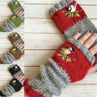 Birds Embroidery Winter Women Gloves Fashion Knitted Fingerless Mittens Gloves