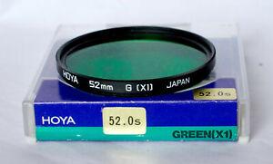 Hoya 52mm dark green (X1) filter including case.
