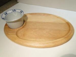 Dansk Oval Wood Serving Platter W/Dansk Porcelain Dip Bowl