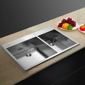 "33"" x 22"" x 9"" Stainless Steel Double Bowl Kitchen Sink Large Capacity New"
