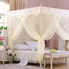 Princess Girles Lace Four Corner Poster Bed Canopy Single Queen Size Netting