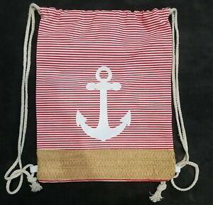 "Nautical Theme Drawstring bag Anchor Pattern Red White Stripe Straw Fabric 16"""