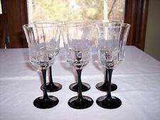 Set of 6 Cris D'Arques ARCOROC Octime Black Water Goblets