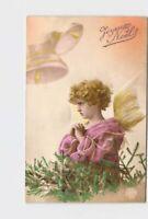 REAL PHOTO RPPC POSTCARD CHRISTMAS GIRL DRESSED AS ANGEL PRAYING BELLS TREE HAND