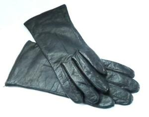 VINTAGE LADIES GLOVES BLACK LEATHER WITH LINED INTERIOR SMALL / MEDIUM