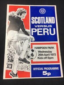 Rare Vintage 1972 Football Soccer Program Peru V Scotland Hampden Park