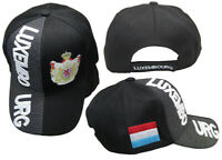 Luxembourg Country Black White Letter Crest Patch On Side Embroidered Hat Cap