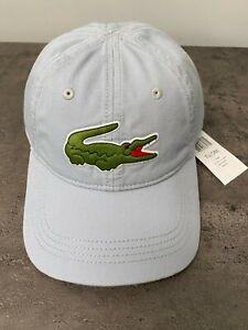 NEW Men's Lacoste Big Croc Hat Logo Baseball Cap Light Blue