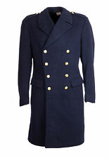 "Wool Trench Great Coat Nordic Vintage Double Breasted Military 38-40"" Navy Blue"