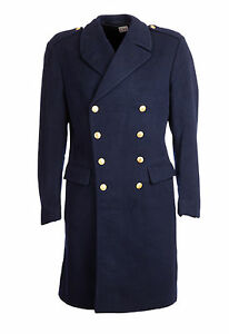 """Wool Trench Great Coat Nordic Vintage Double Breasted Military 38-40"""" Navy Blue"""
