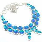 """Blue Triplet Fire Opal, blue Topaz Silver Jewelry Necklace 18"""" MQR-2925"""