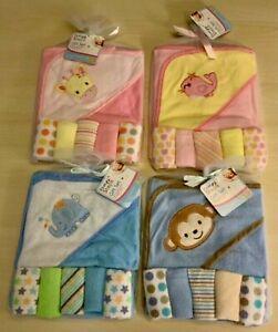 6 tlg Baby Jungen Mädchen Kapuzen Badetuch Geschenk Set Bade-Poncho Handtuch NEU