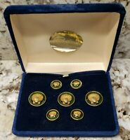 1970's Pappagallo Gold Metal Shell on Green Suit Blazer Button Set New in Case