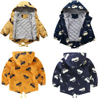 Toddler Infant Kids Baby Boys Girl Cartoon Hooded Warm Thick Jacket Coat Outwear