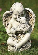 """12"""" Cherub Angel Sitting On Log with Puppy Dog Outdoor Garden Statue 60424"""