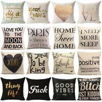 Funny Vintage words Cotton Linen Pillow Case Sofa Throw Cushion Cover Home Decor