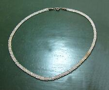 Schöne ältere MONDSTEIN-LINSENKETTE facettiert • 46 cm Mondsteinkette • Silber