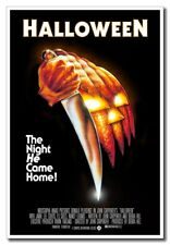 "Halloween Horror Pumpkin Face With Knife 12""x8"" Movie Silk Poster New  Cool Gift"