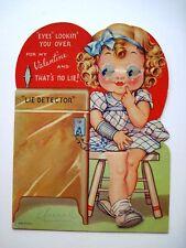 Vintage Mechanical Valentine Card w/ Girl Taking Lie Detector Test  *