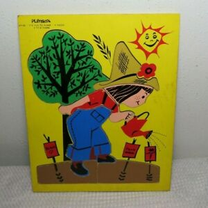 Vintage Playskool Wooden Puzzle Toy Complete Fun To Plant Gardener Farmer Girl