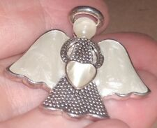 Premier Designs Brooch - Silver Tone Angel - Pearly White - 1 1/2 inch