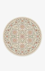 Ruggable 6' Round Suzani Coral Floral Rug & Pad Washable