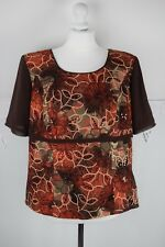 w17 Sophie Martin Brown embroidered top blouse size 18