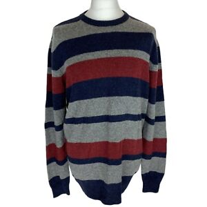 BHS Atlantic Bay Luxury, 100% Lambswool Striped Jumper. Size Large. EXC CON.