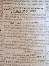 Original 1849 LYNCHBURG VIRGINIA newspaper SLAVES 4 SALE AD 12 yrs PRE CIVIL WAR