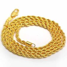"Cool 9K Yellow Gold Filled Men's Rope Chain Necklace 24 Inches"",Z1418"