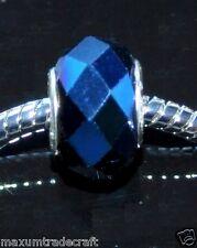 10pcs Metalic Bleu Plaqué Verre Charm Beads Fit European chaîne serpent