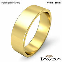 14k Yellow Gold Plain Flat Pipe Cut Wedding Band Men High Polish Ring 6mm 6.4gm