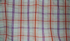 DESIGNERS GUILD Westbourne Check Purple Red Cotton India Seersucker Remnant New