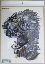 Tatouage éphémère, épaule- demi-bras, ECRITURES BLEU 24x32cm