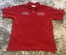 Mens Vintage Red Official Licensed Toyota Panasonic F1 Polo Shirt Size Xl