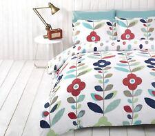 lumineux floral ovale à pois Mélange de coton bleu Housse de couette King-size