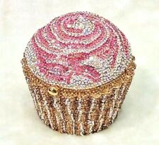 Gold Silver Pink Cupcake Shaped ~Handmade Austria Crystal 3D Shaped Cocktail Bag