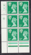 Scotland Waddington 12p Emerald Cyl 1A1B x 6 No Dot Mnh