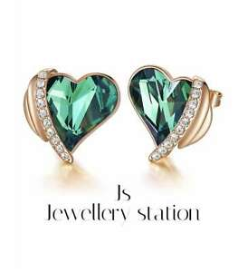 Rose gold finish emerald and created diamond angel heart earrings womens