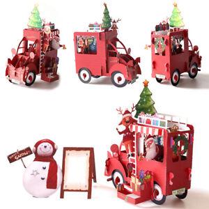 Creative 3D Christmas Greeting Card Car Shape Xmas Santa Claus Paper Pop Up Card