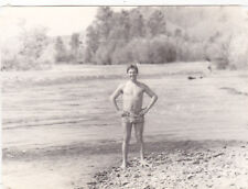 1980s Handsome nude muscle man by the river gay interest Russian Soviet photo