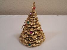 """Old Resin Golden Christmas Tree Ornament Or Table  Decoration ~ 3 3/4"""" Tall"""