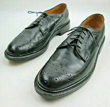 Keith Highlander Black 9.5 C Narrow Longwing Broque Shoes Vintage Made in USA